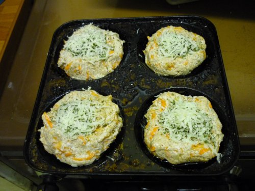 Dishes of bread with grated cheese & coriander