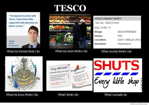 Tesco: What my mom thinks I do