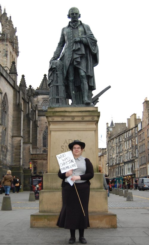 Chrystal MacMillan in front of Adam Smith