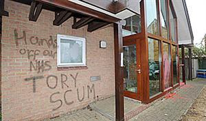 The graffiti on Andrew Lansley's Cambridge constituency office