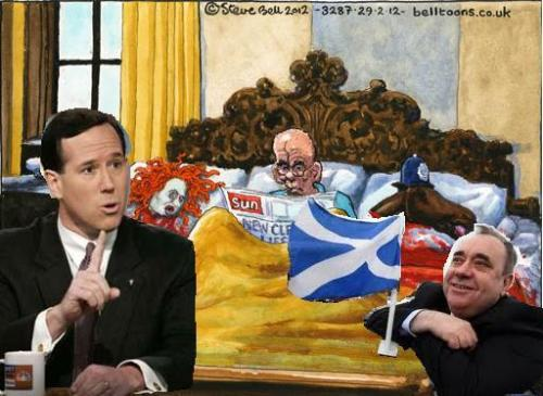 Steve Bell's cartoon of Murdoch with Santorum & Salmond