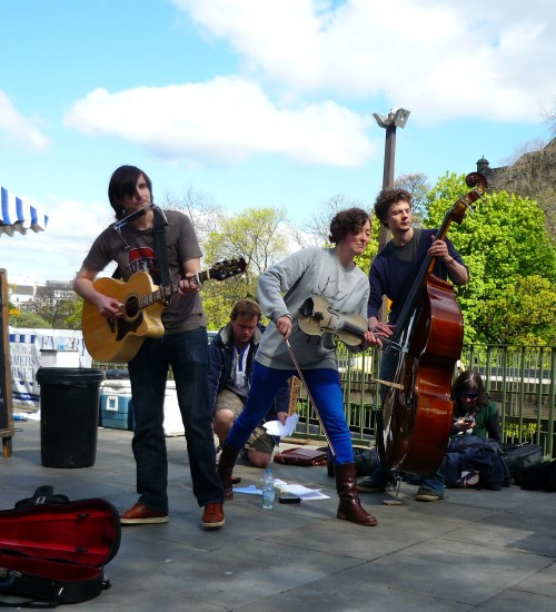 The players at the Farmer's Market, Edinburgh