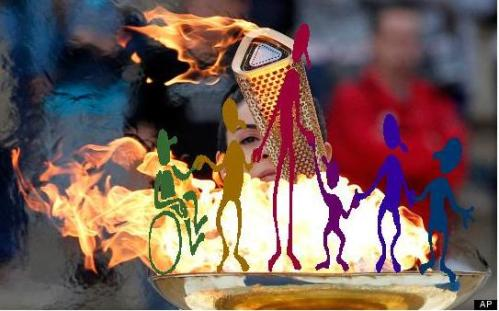 Olympic flame with disabled people