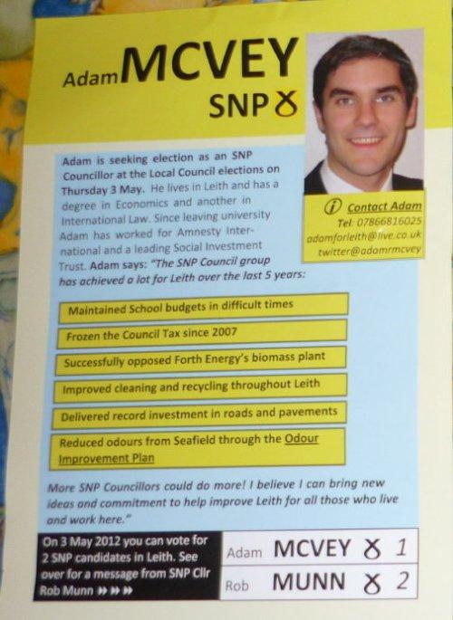 SNP leaflet - Adam McVey - Leith
