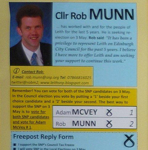 SNP leaflet - Rob Munn - Leith