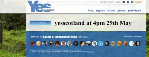 The yesscotland website without the strapline, at 4pm on 29th May