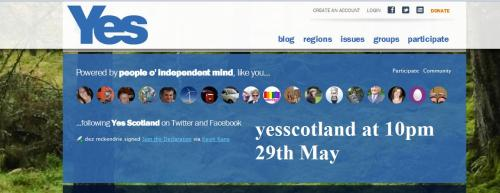 The yesscotland website with the strapline, at 10pm on 29th May