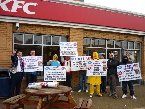 BNP chickens outside KFC