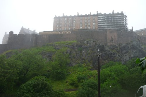 Edinburgh Castle in the rain