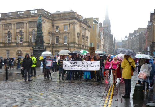Edinburgh Slutwalk 2012: Parliament Square, in the rain