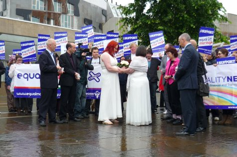 A married couple in South Africa, a civil partnership in Scotland