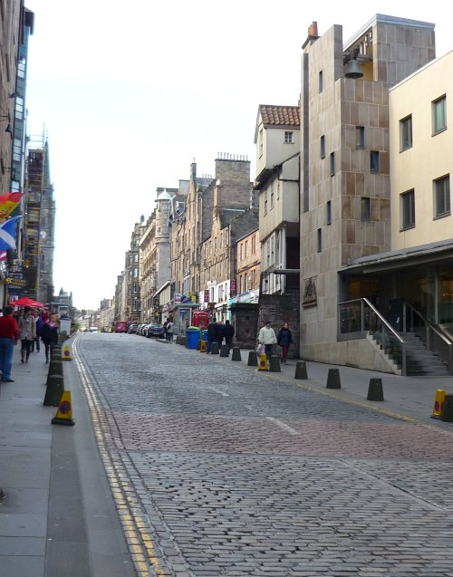 The empty High Street above the Canongate