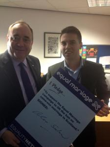 Alex Salmond signs the pledge to support same-sex marriage