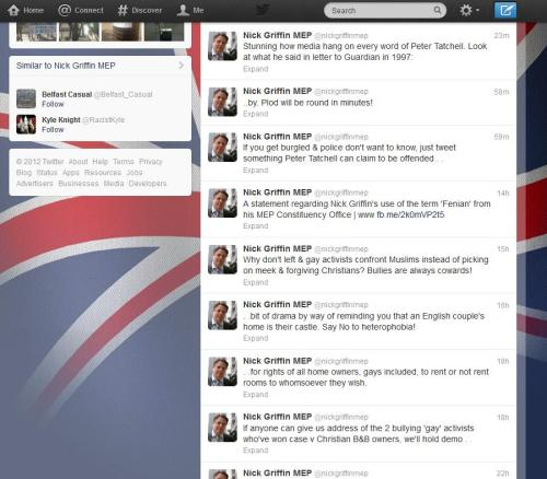 Nick Griffin's rapidly unsuspended Twitter feed