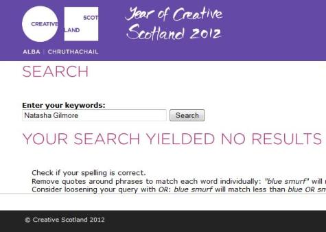 Natasha Gilmore at Creative Scotland: Your Search Yielded No Results