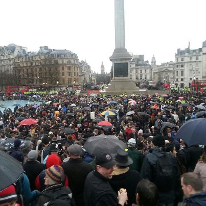 Thatcher's funeral party in Trafalgar Square: planned 1994, took place 13th April 2013