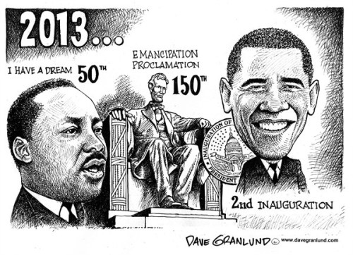 Obama with Martin Luther King and President Abraham Lincoln