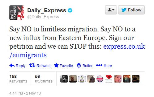 Daily Express Racist Tweet