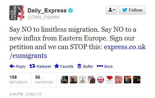 Daily Express Racist Tweet