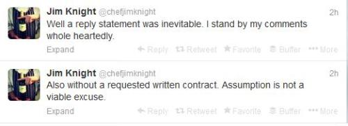 Jim Knight tweets in response