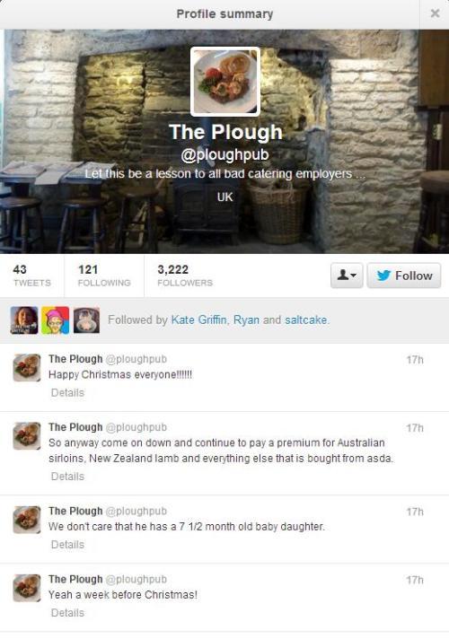 Plough Pub dormant twitter account