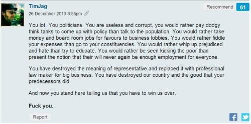 You lot. You politicians.