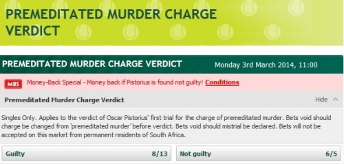 Paddy Power bets on Reeva Steenkamp  murder trial