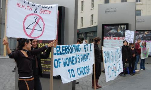 banners at the prochoice demo