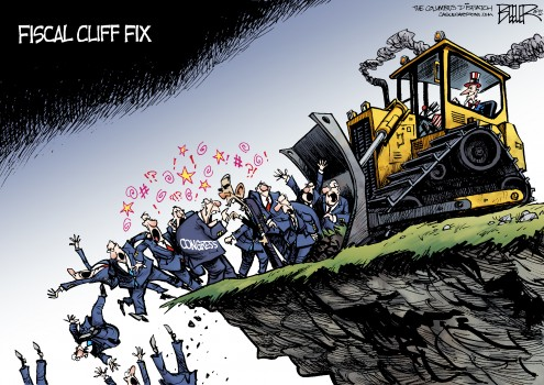 Fiscal Cliff Fix by Nate Beeler for the Columba Dispatch December 2012