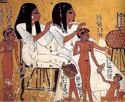 Here we see a depiction of a well-to- do Egyptian family and the clothes they wore. The family was from of Thebes during the 20th Dynasty (1184-1078 BC) according Ikram-Dodson
