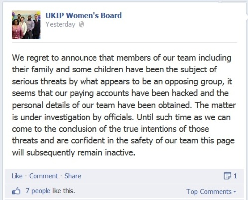 UKIP Womens Board announce serious problem