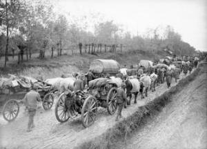 Serbian troops retreat through Albania, 1915