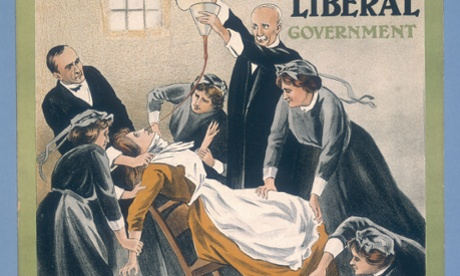 A suffragist force-feeding in jail