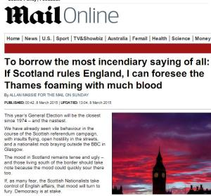 Allan Massie, Mail on Sunday, Rivers of Blood