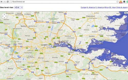 London when sea-level has risen 10 feet