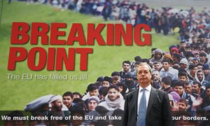 Nigel Farage in front of Breaking Point poster