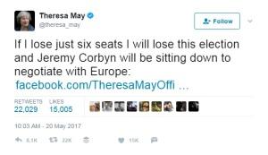 Theresa May: If I lose just six seats....
