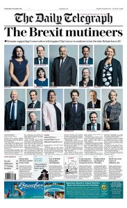 Front page of Telegraph 15th November 2017 - The Brexit Mutineers