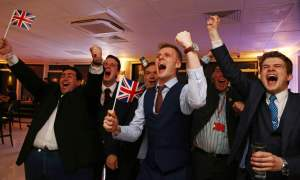 Leave.EU supporters cheer the EU referendum result