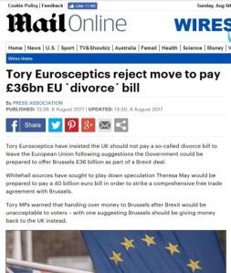 Tory Eurosceptics reject move to pay EU - Daily Mail