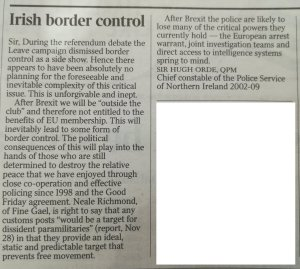 Hugh Orde, former Chief Constable of Northern Ireland, on the Irish Border and Brexit