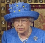 The Queen in her EU flag hat
