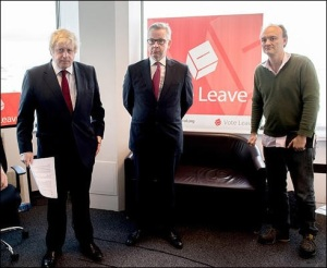 Boris Johnson, Michael Gove, Dominic Cummings, in front of a Vote Leave poster