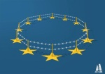 Barbed wire in circle on EU blue supported by EU stars by Art/Tunk