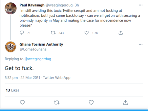 Pro-independence Twitter account asks if we can now get back to building support for independence: Stuart Campbell responds negatively.